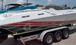 Powered by Mercruiser 496 MAG HO power plants with Bravo XR drives, this freshwater, always stored under cover Executioner is equipped with electric compass, digital depth finder, AM - FM - CD stereo, porta potti, basins in head and galley, opposing