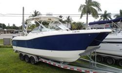 Just Arriving 2010 World Cat 290 Dual Console Powered By Twin Suzuki 250's Outboard Motors. Equipped With Hard Top, Electric Head, power Steering, Over Sized Dive Ladder, Free Fall Windlass, Removable Bow/Stern Table, Integrated Battery Charger, Clarion