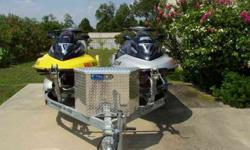 """I am selling a pair of SeaDoo's. 2006 GTX Limited Ed. Supercharged with 30 hrs. and a 2004 GTX Supercharged with 62 hrs. Both are in Terrific condition, they both have covers and the set comes on an alluminum 10"""" wheel trailer. Many extras...$14995.00 for"""