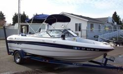 Very popular model. Fish and ski version with 190 HP Volvo Penta V6. Shows very minimal use. Comes with all extras from the factory plus many upgrades including fish finder, trolling motor and a multi-battery system with a charger. Also comes with a