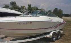 "This bow rider is CLEAN! Near-perfect upholstery! - Trim Tabs - Single prop - Bigblock Mercruiser 454 - Dual Batteries - Depth Finder - Compass - No carpet - 23'2"" - Beam 8'6"" - Net wt. lbs 4,300 - Inboard/Outboard engine - 250 Horse Power -Trailer For"