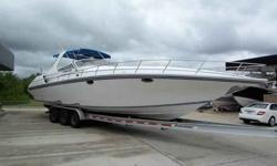 Fountain is well known for offshore performance boats, fantastic middle console fishing boats, and luxurious cruising boats. This 38 express cruiser has all the comforts of a sea side luxury condo, and the performance of a top tier sport boat. This single