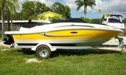 2008 Sea Ray 185 SPORT GARAGE KEPT, ONE OWNER Yellow 185 Sport Boat is turn key and ready to go. Enjoy the large Sun Pad, comfortable seating in the cockpit, bow and plenty of storage for all your gear while cruising too your MP3/iPod tunes. Please click