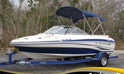 """Length: 18'1""""Beam: 91""""Hull Material: FiberglassColor: BlueberryEngine: Mercury MerCruiser 3.0L 4 CylinderPassenger Capacity: 8Trailer: Included, YesThis handsome 2012 Tahoe Q4 SS runabout is powered by the 135hp Mercury MerCruiser 3.0L 4 Cylinder Engine"""