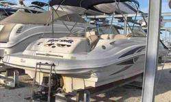 "2002 Sea Ray 220 SUNDECK This very clean Sea Ray 220 Sundeck has been high and dry stored since new. White Hull with Blue Canvas. Wide 8'6"" Beam and 23' 6"" Length Overall and 10 passenger capacity. She is the perfect boat for a day of fishing, family"
