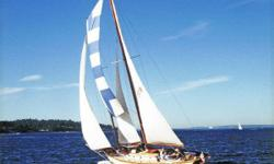 Wanderlure II is a spectacular example of a well-executed restoration of a John Alden design schooner. Her sail plan is that of a staysail schooner for ease of handling and the ability to fly many combinations of sails. The new decks are of one-half inch
