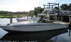 Located in Penns Landing PA This boat is a classic! The Cary 32, which became the Black Finn 32 Sportfish, is truly a special machine. This vessel more economy and range than one would expect with it's twin 454 EFI inboards (new in 2000). The speed