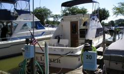 This a beautiful classic fly bridge with a newer interior and a huge deck for fishing or lounging. Beam: 11 ft. 10 in. Speed max: 35 Compass; Depth fish finder; Boat cover; Vhf radio; Stereo; Bimini top; Shore power; Gps loran; Fridge; Shower; Swim