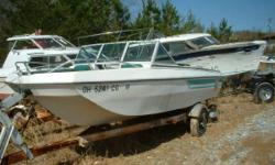 Classic Tri Hull Bowrider 120 hp Powered by a Mercruiser 120 hp that needs recommissioning. Needs interior and clean up comes with Dilly trailer. Our 15 acre boat yard has over 100 new trailers deeply discounted, over 250 used trailers, over 100 complete