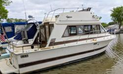 Nice starter boat for weekends and extended trips. Large back deck for lounging or fishing with a big cabin for spending your weekends. Beam: 10 ft. 4 in. Fuel tank capacity: 75 Stock number: 5807FP Compass; Stove; Vhf radio; Stereo; Fridge; Shower; Swim