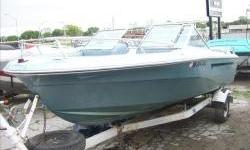 1978 Mark Twain 180 Bowrider 18ft. with Mercruiser305 V8 and Shorelandr single axle trailer. All gauges and safety equipment. Hull cosmetics and vinyl are in good condition. Motor has good compression, lower unit needs work including bellows, gimbel