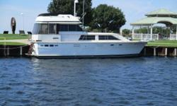 In her day the 44 Trojan Motor Yacht was the pinnacle of luxury! This boat has always been in freshwater and had a bow thruster added a few years ago. The boat is in good shape for her age and has many amenities. This is a two stateroom, two head layout