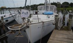 The 79 Morgan is a very sturdy ocean going vessel. Its 6' center cockpit area leaves plenty of room to entertain, as does the salon area with it's 7' L shaped table, across from a 7' berth. The deck is open and well put together, and comes completer with