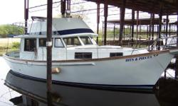 Single 6.354 Perkins 130 HP Natural Freshwater Cooled, Auto Gen 2kw, Only 1000hrs, Kohler 12.5kW 500hrs, 400 Fuel, Emerson Quiet Cool 10,000 BTU Air Conditioner, Single Stateroom with Double Berth, Single Head, Complete Awlgrip Paint job, Looks New