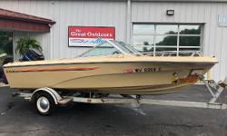 *CONSIGNMENT BOAT - BEING SOLD BY INDIVIDUAL - BOAT HAS BEEN IN STORAGE FOR 20 YEARS - NO GREAT OUTDOORS WARRANTY* 1980 MARK TWAIN 170 VBR 1980 MERCURY 115HP 2-STROKE OUTBOARD 1980 SHORELANDER SINGLE AXLE TRAILER Cockpit enclosure w/ bimini top 4 bench