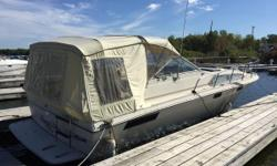 For sale is a 1982 Bayliner 3250 Conquest. This 11' wide boat gives ample room to spread out. From the deck, you will go down into the salon with seating to the starboard side and galley to the port. Forward, an enclosed stateroom, with additional