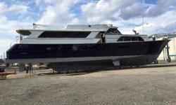 """INSTALL YOUR CUSTOM INTERIOR INTO A CLASSIC BROWARD YACHT """"FLAG BLUE"""" HULL ACCENTS FLOWING BROWARD'S CLASSIC LINES BOTTOM JUST SANDBLASTED, PRIMED & READY FOR YOUR BOTTOM PAINT....   GALLEY - ALL NEW APPLIANCES - READY FOR CABINETS AND"""