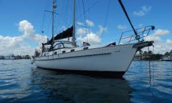 Proven Blue Water Cruiser Newer Yanmar Engine 88 HP EXCELLENT SPACIOUS Engine room access Ketch rigged for easy handling All fiberglass decks Center cockpit design with large owners suite aft incl bath tub Separate Guest cabin forward with en-suite head