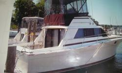 1981 34' Silverton Convertible, exc. condition, twin/360 Chryslers 250 hrs. new interior, extra props, generator, heat/air. professionally maintained, electro sand, swim platform, pulpit, power winch, Fisher cover Beam: 12 ft. 6 in. Boat cover; Vhf radio;
