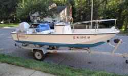 Nice clean 17' Boston Whaler with Evinrude 90hp Engine and COX Trailer. Helm Bench Center Console Battery 3B9685 HIN# BWCH60770383 Nominal Length: 17' Engine(s): Fuel Type: Other Engine Type: Outboard
