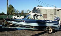 17 Ft Bass Boat, 1983 115 HP Evinrude E115TLC, Bimini Top, Hummingbird Fish finder, Casting Chairs, 24 Volt Trolling Motor, 1983 Brougham Trailer, Garage Kept Fresh water only Beam: 6 ft. 9 in. Depth fish finder; Trolling motor; Bimini top;