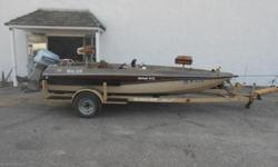 1983 Monark McFast V-172 equipped with Evinrude 115 hp outboard motor. Boat includes strap cover, wind guides, livewell, Hummingbird 541 depth finder, and single axle trailer with spare tire. 7 person capacity. Please call before coming to view as our