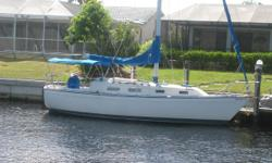 "Pearson 303 is a long-time favorite cruiser for families and couples. Pearson 303 is one of sailor's most popular, economical sailboats, rigged for easy single handed sailing. Families love the spacious living areas and 6' 3"" headroom below deck.The salon"