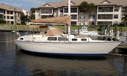 Very comfortable center cockpit sloop with deck stepped mast, shoal keel and spade rudder. Six total berths including a compact aft stateroom plus head with sitting tub/shower. Spacious cockpit Ten opening ports and two large overhead hatches