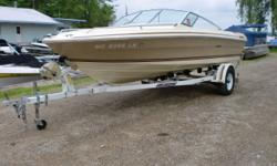 This boat has only had 2 owners. It has a Mercruiser 3.0 litre stern drive for power. It is riding on an E-Z Loader roller trailer. Beam: 7 ft. 6 in.