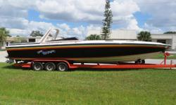Seller has his new boat and wants her sold.Bring offers !!! Reduced asking price !! Here's a well maintained piece of performance boat history. Engine,outdrive and helm updates updates. Incredible rough water performer. T-Derebery Performance