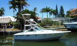 LET'S GO FISHING !!!BOAT LOOKS AND RUNS GREAT !!! Here is a very nice Fishing Machine withOptional Marlin Tower with Wheel and Controls. 2005 Fresh Water Cooled 375 Crusader In-Boards with only 340 hours. Rocket Launchers, Outriggers, Built-in Tackle