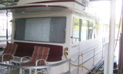 REDUCED! Bottom job done 2005. Items excluded are upper deck chairs, personal items & futon bed. Galley includes sink, 3 burner gas range w/ gas oven, microwave, full size fridge, pressure washer & 15 gallon water heater. Category: Powerboats Water