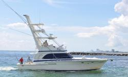This beautiful vessel has been used for daily fishing charters on a yearly basis in the yachting capital of the world of Fort Lauderdale, Florida. It has been equipped with a custom dry exhaust integrated into and used as aft tower supports. Truly a