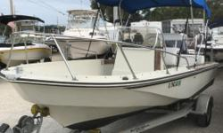 1985 18' BOSTON WHALER OUTRAGE IS POWERED BY A 1997 YAMAHA 150 HP MOTOR, DUAL BATTERIES OFF/ON SWITCH, STAINLESS STEEL PROP, ROCKET LAUNCHER LEANING POST, REAR BENCH SEAT, BIMINI TOP, ANCHOR AND LINE, AND ALUMINUM TRAILER Beam: 7 ft. 2 in. Bimini top;