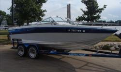 Yes, she is a 1985, but the interior is nicer than most 5 year old boats. She is pretty classy with the teak walk thru doors and rear flip up table. Also keep in mind this is a very big 20 ft boat because they did not measure the swim platform in the