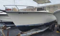 **** BOAT IS HERE IN STOCK, JUST REDUCED 08/25/18, BUY NOW FOR $2,500.00 **** These Are Actual Boat Pictures,**** 1985' Wahoo, 26', Sidelman,Center Console, T-Top, I/O, 160 HP. Volvo Penta, Diesel Engine, Boat / Motor / & Trailer PKG. Engine(s): Fuel