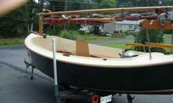 """1986 Mudhen 17 Contact owner Joe 410-867-2627 or zorro281@comcast.net Mud Hen 17, 1986 Loa 17'4"""" Lwl 16'3"""" Beam 6'3"""" Sail area 155sq ft Draft board up 6"""" Board down 3'6"""" Weight 650 # Capacity 6 adults Auxillary 2-4 hp Hand laid f/g hull and deck, pvc foam"""