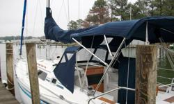 """""""New Horizon"""" is a roomy 31 footer, with light use. It is easy to sail, and fast. The 150 headsail works with the 2006 cruising main, and is a breeze for single-handling. The cabin is comfortable down below, with two separate"""