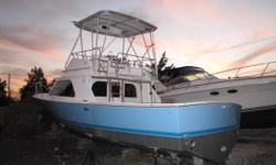 1986 32 BLACKFIN with some very nice cosmetic highlights! New paint job on hull and superstructure deck Barrier coat & Bottom paint New Cushions New framlesswindows Has a pair of 375hp 3208 CATS  Nominal Length: 32' Engine(s): Fuel