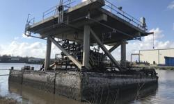1986 Commercial Cement Barge, House boat 45'X45' 45'X45'X10' Cement Barge with ballast system to sink in place.  Perfect for building a camp. Production equipment can be removed before the sale.  Located at The Port of Iberia, Louisiana. Nominal