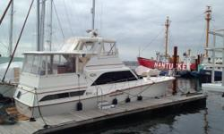 This 1986 Ocean 46 Sunliner is located in Boston Mass. This 1986 Ocean Yachts Sunliner is a fast, comfortable, and elegant motor yacht and/or amazing liveaboard! Very well maintained, in the water and ready to go. Very affordable slip in Boston Harbor can
