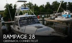 Actual Location: Greenwich, CT - Stock #110508 - If you are in the market for a sportfish yacht, look no further than this 1986 Rampage 28, priced right at $15,000 (offers encouraged).This boat is located in Greenwich, Connecticut and is in good