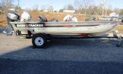 This Tracker tournament v-17 is a classic, equipped to handle whatever freshwater species you are after. Equipped with Lowrance electronics, a Motorguide trolling motor, and powered by an Evinrude 60hp outboard. Nominal Length: 17'