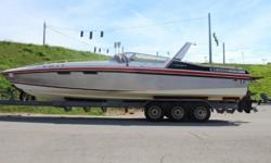1986 Wellcraft 340 Scarab III ?Twin Mercruiser 454 Mags - 370HP ?Stainless Steel 4 Blade Props ?TRS Outdrives ?Extended Swim Platform ?Bimini Top W/ Enclosed Canvas ?Three Batteries ?Extra Props ?Eagle Triple Axle Trailer NOT ON SITE Beam: 8 ft. 4 in.