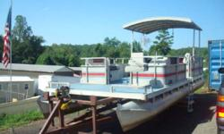 pontoon with shade Inventory clearance sale now underway! This is a 1987 24ft pontoon.Equiped with a hard top for lots of shade.Its powered by a 40hp yamaha.Its ready for the water ,with a little bit of your tlc it will look like dream. Our 15 acre boat