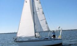 1987 Hunter 31 Cruiser Racer Sailboat, 31 feet, She is equipped with Air Conditioning, refrigeration, TV, stereo, dehumidifier, power inverter, GPS, Radar, marine radio (extended to cockpit also). She has a sailing dinghy w/outboard and davits on the