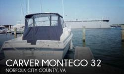 Actual Location: Norfolk, VA - Stock #092355 - If you are in the market for a cruiser, look no further than this 1987 Carver Montego 32, just reduced to $12,500 (offers encouraged).This vessel is located in Norfolk, Virginia and is in great condition. She