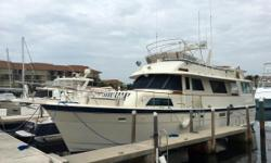 Well Maintainted Classic Hatteras 58 Wide Body Motor Yacht This gorgeous classic is well equipped and ready for long range cruising. 2600 Engine Hours Brand New Isinglass Aft Deck Enclosure New Bridge Bimini Top New Seat Covers for bridge seating