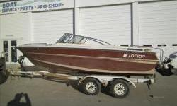 1987 Larson 190 Citation DC with Mercruiser 5.0L V8 230hp and a tandem axle HaulRite trailer with spare tire in good condition. Boat has a new custom travel cover and all the seats have been redone with newer vinyl. Nice deep cockpit makes this a nice