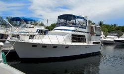 Super Clean Sundeck Model Ready For You To Move Aboard and Cruise!! This Marine Trader Tradewinds is an excellent example of the popular contemporary motor yacht styled trawler with planing-speed performance. Below decks her all teak and Air Conditioned